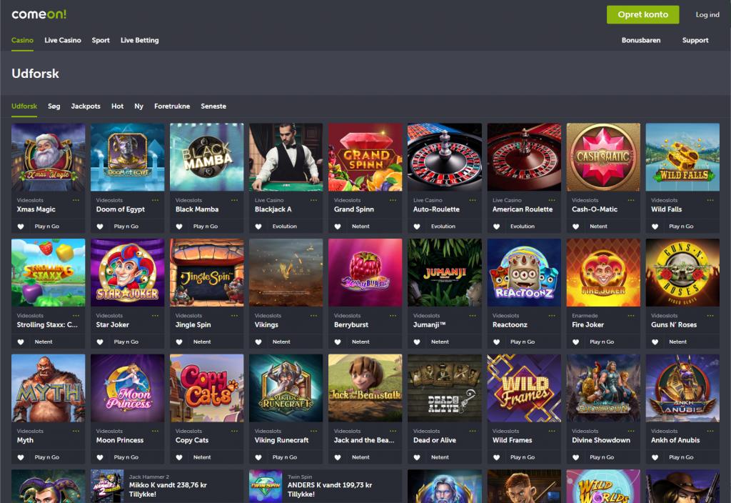 Comeon casino webside