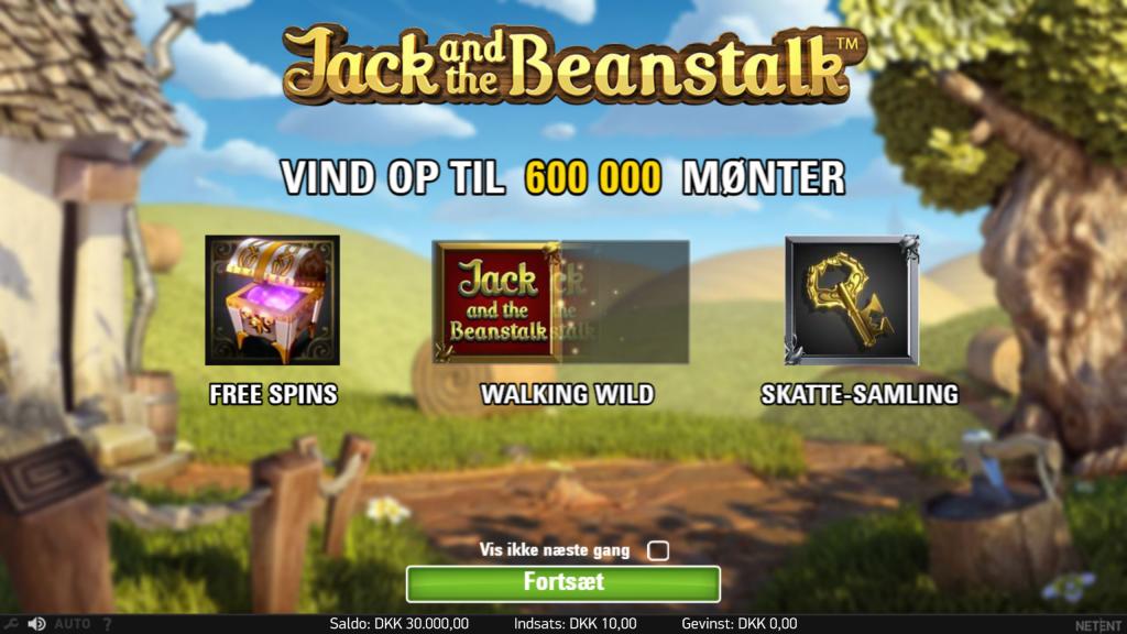 Jack and the beanstalk spilleautomat startbillede med free spins, walking wild og skatte samling